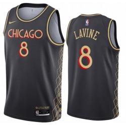 Men Chicago Bulls 8 Zach Lavine Black 2020 21 City Edition Nike Swingman Jersey