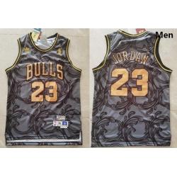 Men Chicago Bulls Michael Jordan 23 Gold Adidas NBA Jersey