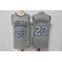 Men Chicago Bulls Michael Jordan 23 Gray Hardwood Classic Michell&Ness Limited Jersey