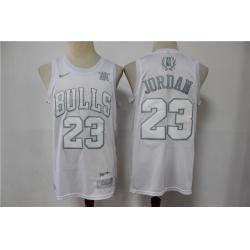 Men Chicago Bulls Michael Jordan 23 White Regular Games MVP Limited Jersey