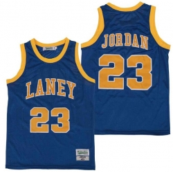 Men Laney 23 Michael Jordan High School Basketball Jersey Blue