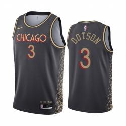 Men Nike Chicago Bulls 3 Devon Dotson Black NBA Swingman 2020 21 City Edition Jersey