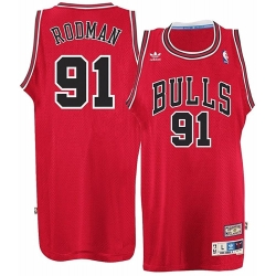 Mens Chicago Bulls 91 Dennis Rodman adidas Red Hardwood NBA Jersey