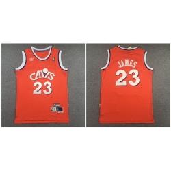Cavaliers 23 Lebron James Orange Hardwood Classics Jersey