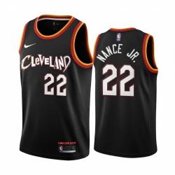 Men Nike Cleveland Cavaliers 22 Larry Nance Jr  Black NBA Swingman 2020 21 City Edition Jersey