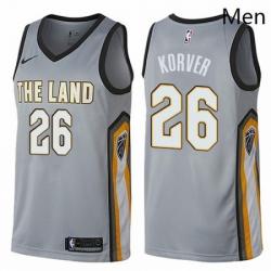 Mens Nike Cleveland Cavaliers 26 Kyle Korver Swingman Gray NBA Jersey City Edition