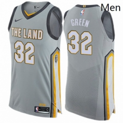 Mens Nike Cleveland Cavaliers 32 Jeff Green Authentic Gray NBA Jersey City Edition