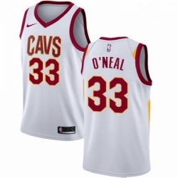 Mens Nike Cleveland Cavaliers 33 Shaquille ONeal Authentic White Home NBA Jersey Association Edition