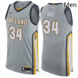 Mens Nike Cleveland Cavaliers 34 Tyrone Hill Authentic Gray NBA Jersey City Edition