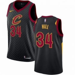 Mens Nike Cleveland Cavaliers 34 Tyrone Hill Swingman Black Alternate NBA Jersey Statement Edition