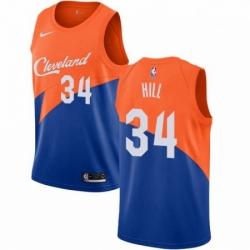 Mens Nike Cleveland Cavaliers 34 Tyrone Hill Swingman Blue NBA Jersey City Edition