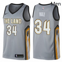 Mens Nike Cleveland Cavaliers 34 Tyrone Hill Swingman Gray NBA Jersey City Edition