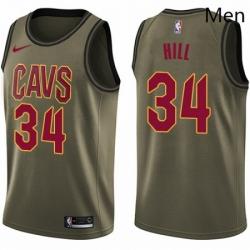 Mens Nike Cleveland Cavaliers 34 Tyrone Hill Swingman Green Salute to Service NBA Jersey