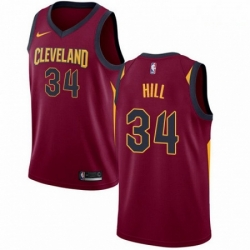 Mens Nike Cleveland Cavaliers 34 Tyrone Hill Swingman Maroon Road NBA Jersey Icon Edition