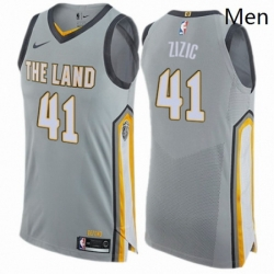 Mens Nike Cleveland Cavaliers 41 Ante Zizic Authentic Gray NBA Jersey City Edition