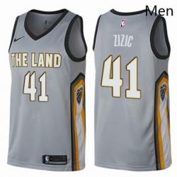 Mens Nike Cleveland Cavaliers 41 Ante Zizic Swingman Gray NBA Jersey City Edition