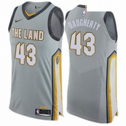 Mens Nike Cleveland Cavaliers 43 Brad Daugherty Authentic Gray NBA Jersey City Edition