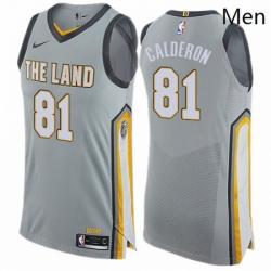 Mens Nike Cleveland Cavaliers 81 Jose Calderon Authentic Gray NBA Jersey City Edition