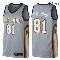 Mens Nike Cleveland Cavaliers 81 Jose Calderon Swingman Gray NBA Jersey City Edition