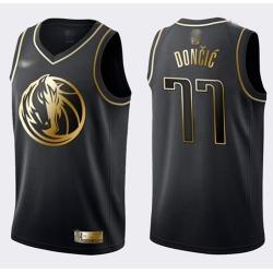 Mavericks #77 Luka Doncic Black Gold Basketball Swingman Limited Edition Jersey