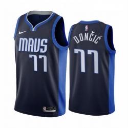 Men Dallas Mavericks 77 Luka Doncic Navy NBA Swingman 2020 21 Earned Edition Jersey