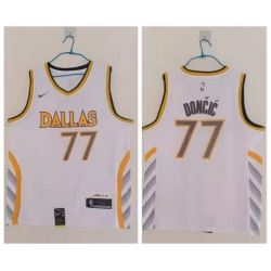 Men Dallas Mavericks 77 Luka Doncic White 2020 21 City Edition Nike Swingman Jersey