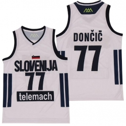 Men Mavericks 77 Luka Doncic Slovenija National Jersey White