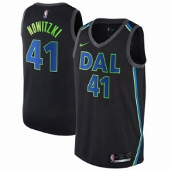Mens Nike Dallas Mavericks 41 Dirk Nowitzki Swingman Black NBA Jersey City Edition