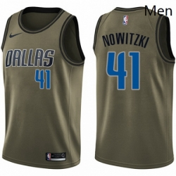 Mens Nike Dallas Mavericks 41 Dirk Nowitzki Swingman Green Salute to Service NBA Jersey