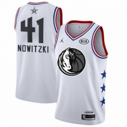 Mens Nike Dallas Mavericks 41 Dirk Nowitzki White NBA Jordan Swingman 2019 All Star Game Jersey