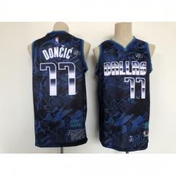 Men's Nike Dallas Mavericks #77 Luka Doncic Blue Authentic Finished Basketball Jersey