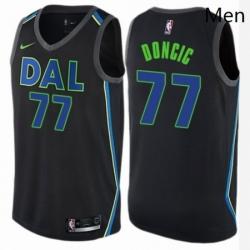 Mens Nike Dallas Mavericks 77 Luka Doncic Swingman Black NBA Jersey City Edition