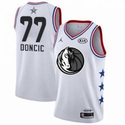 Mens Nike Dallas Mavericks 77 Luka Doncic White Basketball Jordan Swingman 2019 All Star Game Jersey