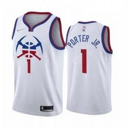Men Denver Nuggets 1 Michael Porter Jr  White NBA Swingman 2020 21 Earned Edition Jersey