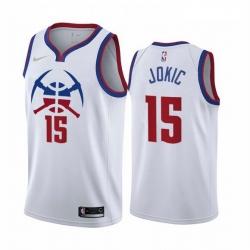Men Denver Nuggets 15 Nikola Jokic White NBA Swingman 2020 21 Earned Edition Jersey