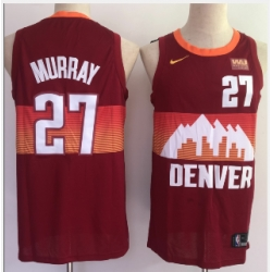 Men Denver Nuggets 27 Jamal Murray Red 2021 City Edition NBA Swingman Jersey With The Sponsor Logo