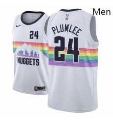 Men NBA 2018 19 Denver Nuggets 24 Mason Plumlee City Edition White Jersey