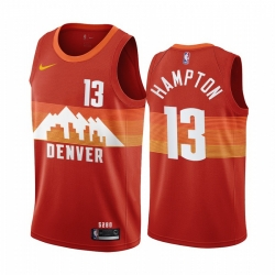 Men Nike Denver Nuggets 13 R J  Hampton Red NBA Swingman 2020 21 City Edition Jersey