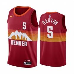 Men Nike Denver Nuggets 5 Will Barton Red NBA Swingman 2020 21 City Edition Jersey
