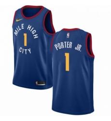 Mens Nike Denver Nuggets 1 Michael Porter Jr Blue NBA Swingman Statement Edition Jersey