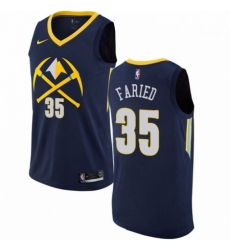 Mens Nike Denver Nuggets 35 Kenneth Faried Authentic Navy Blue NBA Jersey City Edition
