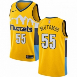 Mens Nike Denver Nuggets 55 Dikembe Mutombo Authentic Gold Alternate NBA Jersey Statement Edition