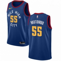 Mens Nike Denver Nuggets 55 Dikembe Mutombo Authentic Light Blue Alternate NBA Jersey Statement Edition