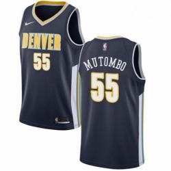 Mens Nike Denver Nuggets 55 Dikembe Mutombo Authentic Navy Blue Road NBA Jersey Icon Edition