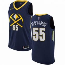 Mens Nike Denver Nuggets 55 Dikembe Mutombo Swingman Navy Blue NBA Jersey City Edition
