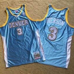 Nuggets 3 Allen Iverson Light Blue 2006 07 Hardwood Classics Swingman Jersey