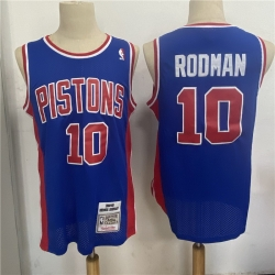 Men Detroit Pistons 10 Dennis Rodman Blue 1988 89 Hardwood Classics Jersey