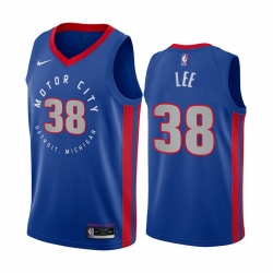 Men Nike Detroit Pistons 38 Saben Lee Blue NBA Swingman 2020 21 City Edition Jersey