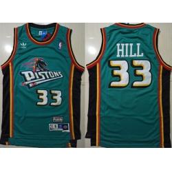 Men Pistons 33 Grant Hill Green Hardwood Classics Jersey
