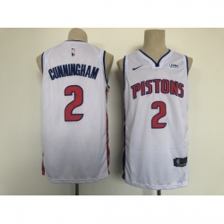 Men's Detroit Pistons #2 Cade Cunningham Fanatics Branded White 2021 Draft First Round Jersey